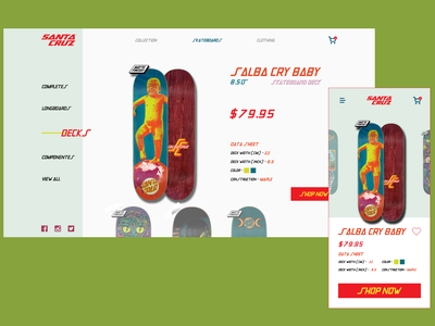 Santa Cruz typography skateboard shopping shop branding web design xd web ux ui fashion design