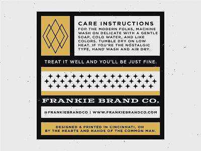 HangTag for a new Frankie Product hangtag label packaging texture design typography branding vintage cincinnati