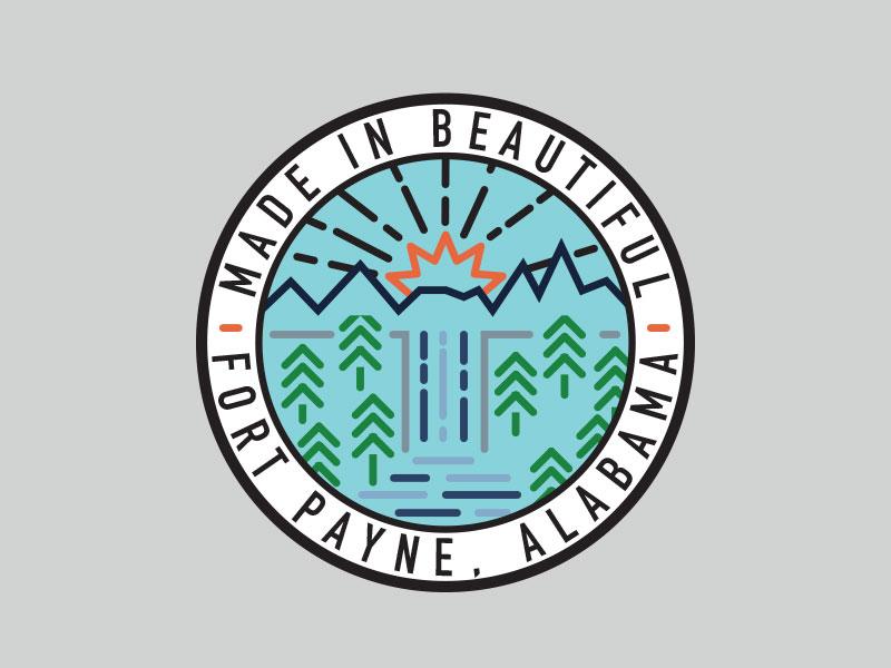Beautiful Fort Payne illustration monoline monoweight light rays sun trees waterfall water round badge badge sticker national park beautiful alabama
