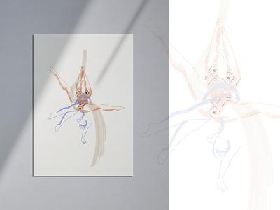 Aerial shapes nº1: Hip Key digitalart dibujo poster art acrobacias acrobatics silk aerialsilk diseñografico ilustración illustration