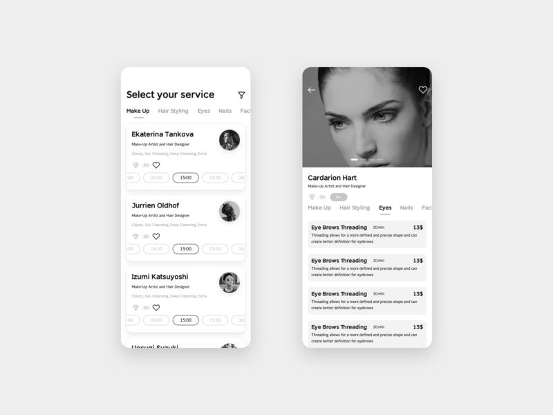 Service App Proposal startup makeup service wireframing mobile app ux ui sketch