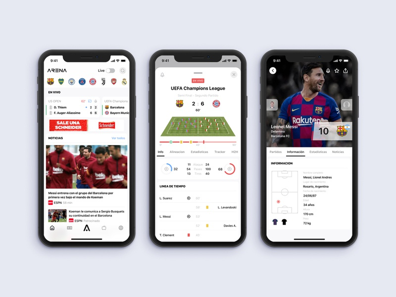 Arena Sports tennis sports ios soccer sketch mobile design ui ux