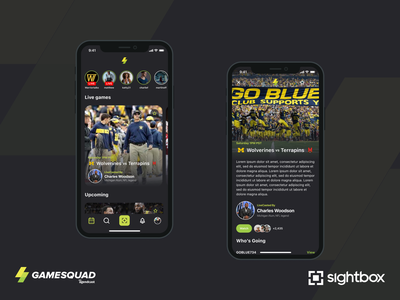 Game Squad by Sightbox ux ios mobile sports ui