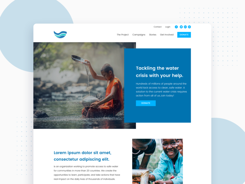 Water Foundation Proposal Landing Page water foundation landing page logo branding proposal sketch web ui design ux