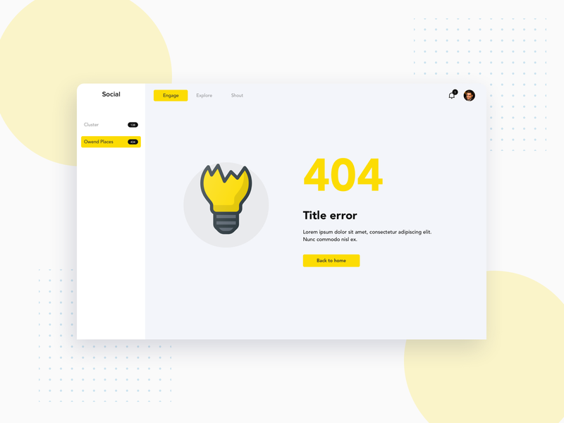 Social GYM 404 404 page no result 404 error 404 admin design ux proposal sketch ui