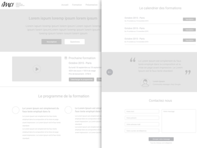 Wireframe formation page