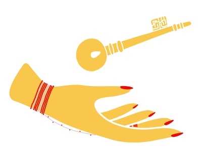 Hand of Fatima and The Key to Heaven hand of fatima red yellow fatima bracelet key hand kdrama granada alhambra memories of the alhambra key to heaven graphic design vector minimal illustrator design flat illustration