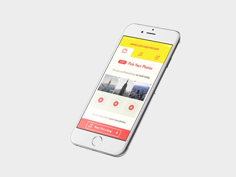 Video Postcard App app flat ui design video postcard tourism