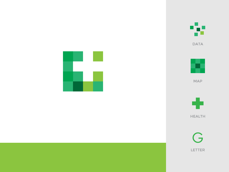 Location & Health identity brand logo green health medical data map letterform
