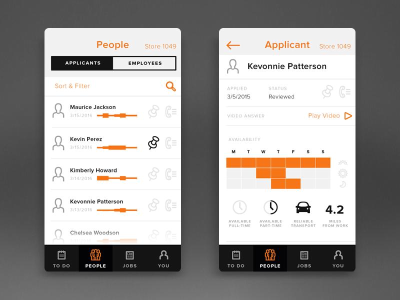 Employment App jobs employment mobile design ui flat app