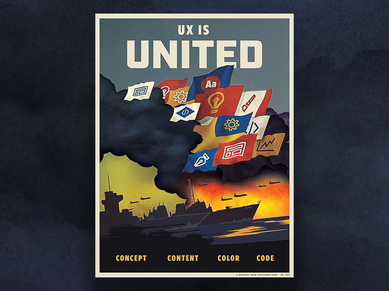 UX is United  - Fight For UX Poster war retro vintage typography ww2 1940s propaganda ux poster