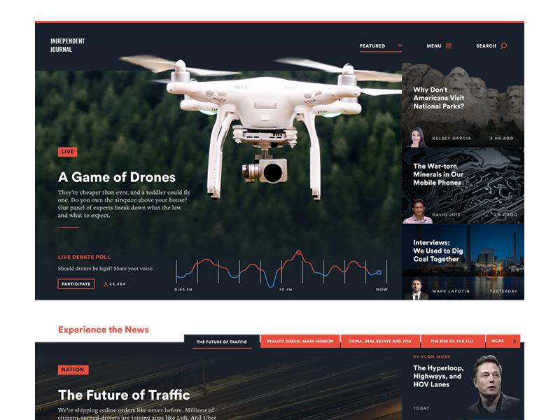 Independent Journal Alternate Take article magazine tech news website ux ui design layout