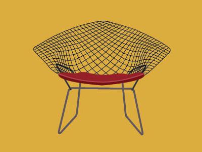 Bertoia Diamond Chair icon iconography illustration furniture chair bertoia knoll