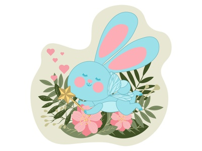 A cute fairy rabbit with wings and a magic wand is flying dream bright happy funny baby symbol sweet tale wing beautiful flying fantasy nature character magic cartoon rabbit hare design fairy