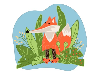 The drawn cartoon fox sits among the green grass and bushes. portrait decorative foxy beautiful predator children illustration botany plant fur wildlife natural forest animal cartoon closeup cute fox mammal cartoon fox drawn fox