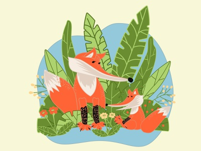 Mom fox with little fox on green grass in cartoon flat style. funny character beautiful wild decoration forest celebration art green grass flat cartoon together motherhood mum nature cute cub animal fox