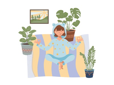 Beautiful cartoon illustration with home yoga. healthy lifestyle girl cartoon flat pose meditate lotus workout woman beautiful care houseplant relaxation activity meditation home indoors yoga yoga girl
