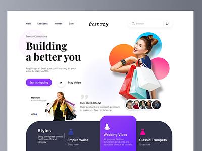 Ecstazy landing page design ux ui