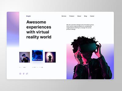 Landing page VR (light) vr minimal landing page design ux ui