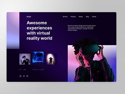 Landing page VR (dark theme) vr mobile landing page ux ui design