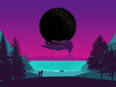 Portal textures landscapes silhouettes motion design animation art direction illustration
