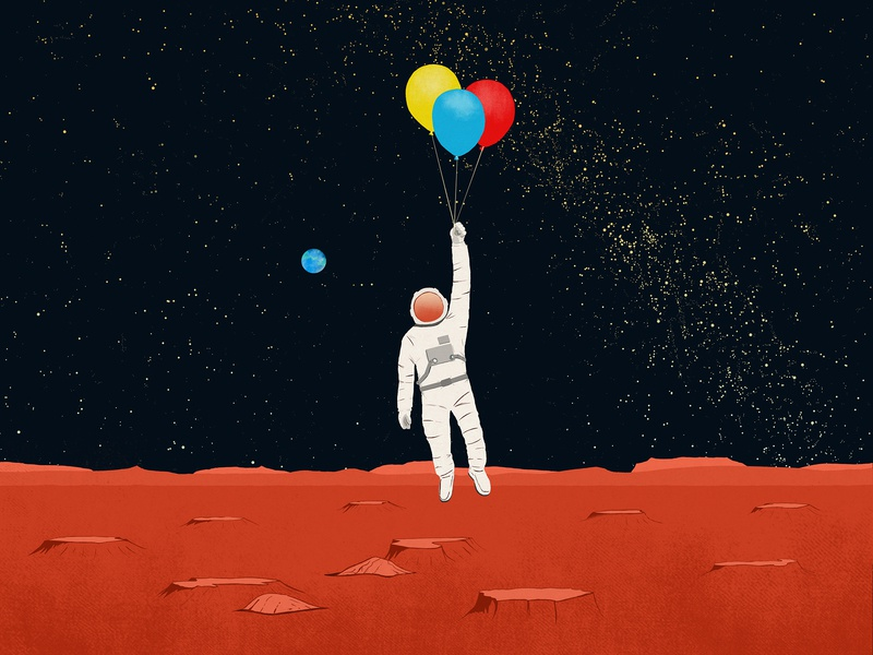 Space Balloons astronaut space drawing design digitalart illustration
