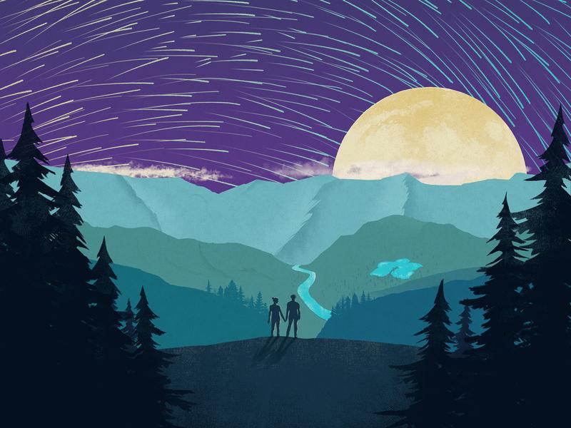 Look At The Light digital art landscapes silhouettes art direction illustration