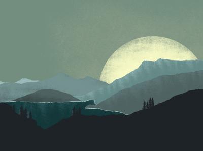 Sunrise digital art silhouettes art direction illustration