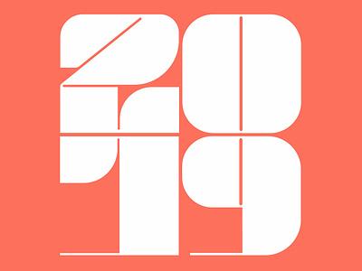 2019 logo design brand typografy logotype coral numbers type logo new year pantone2019 pantone 2019