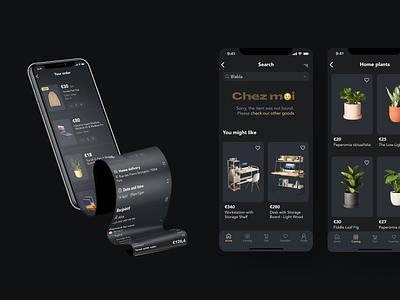 E-commerce app UI design dark theme app design dark mode dark ui ui e-commerce design e-commerce app