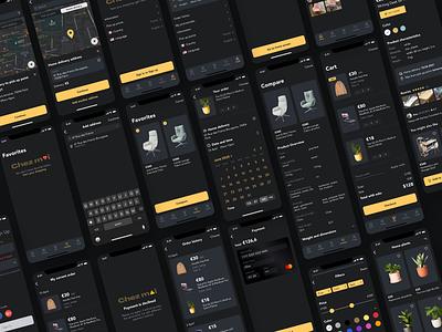 E-commerce app dark ui e-commerce design e-commerce app design dark theme dark mode ui app design