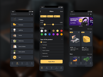 Concept of e-commerce app for iOS e-commerce design ui dark theme e-commerce app dark ui dark mode app design