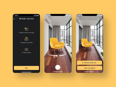 AR app feature furniture app ui design e-commerce design augmented reality ui app design
