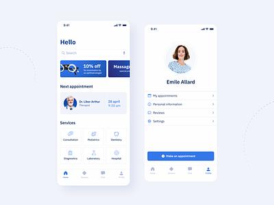 Medical App UI design ui design ui blue and white medical app app design