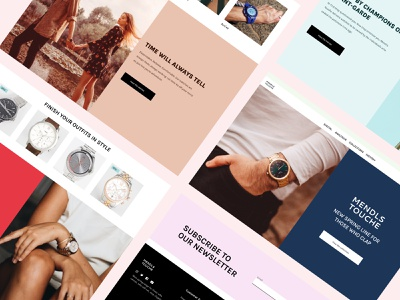Mendls Touche - Watch Brand Website rolex full page color ui design fashion brand product view newsletter colors minimalist clean clothes style fashion watches css grid grid