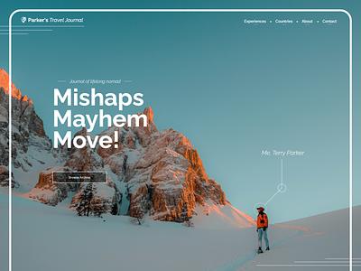 Parkers Travel Journal | Blog Concept ui design white minimal sky mountains line decoration button archive blog travel app ui full page travel color
