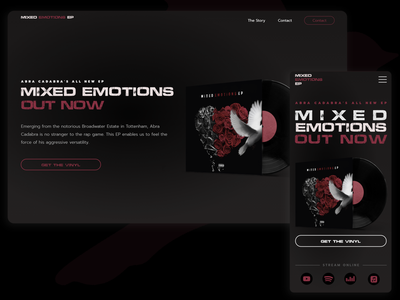 Mixed Emotions EP - Music Album Release Concept color design mobile music mobile ui website webdesign vinyl apple music spotify emotions songs button out now ep music album music dark mode