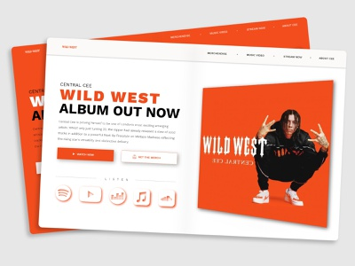 Album Release Site Concept | Central Cee - Wild West dark mode light mode two colours color shcheme music album home page clean minimal glow effect shadows icons youtube spotify industry artist orange music color