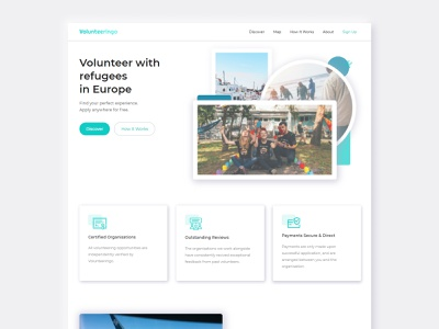 Volunteeringo | Discover your perfect experience discover filter mobile app mobile colorful colourful fun ngo charity migrants refugees greece rome italy travel web app apply volunteering