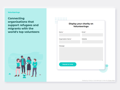 Sign Up Form | Volunteeringo.com contact customers users connect volunteers travel volunteer charity website clean sign up ui display invite only login form signup sign up screen sign up page sign up form sign up