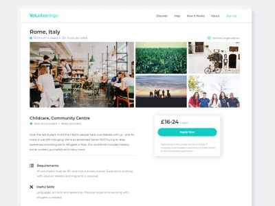 Charity Information Page | Volunteeringo buy price app mobile ui design colorful travel requirements volunteer charity grid clean typography organisation cms photo grid information design airbnb information