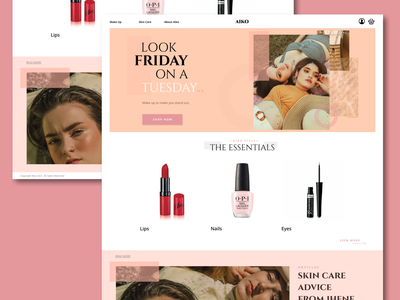 Aiko | Make Up Brand - Landing Page Concept nails eyeshadow pallette fashion articles see more button shop now skincare catagories hero home page landing page shop shopping products make up