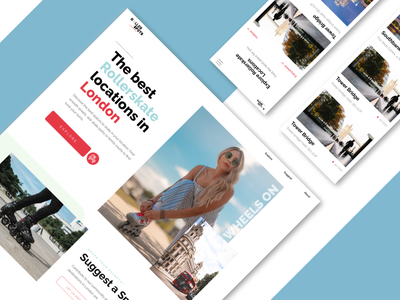 Rollerspots London | Discover the perfect skate location above the fold landing page filter catagories rating blue responsive iphone mockup iphone mobile modern rollerblade rollerskate skate london ui clean website web app