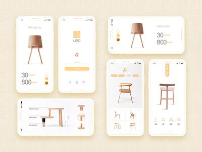 Simple modern-minimalist-style wood ux simple ui mall chair