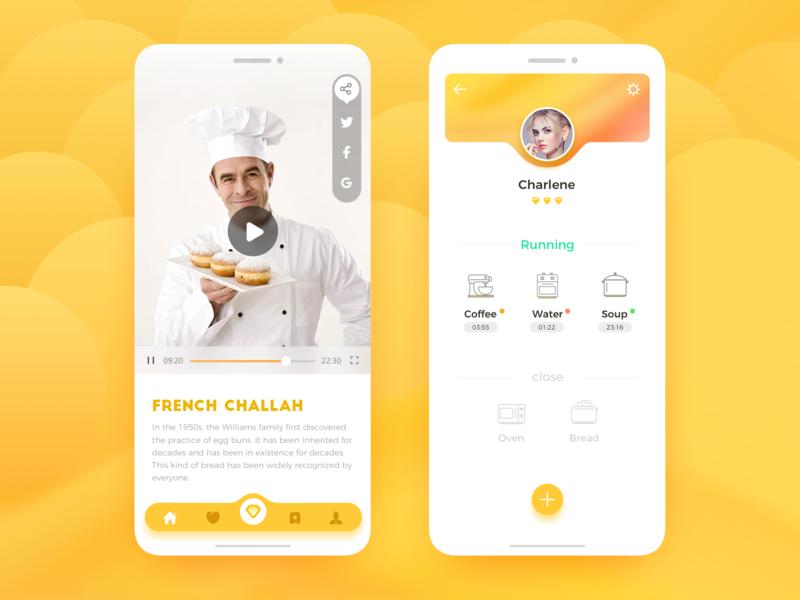 Food APP smart kitchen kitchen food app design color app ux ui
