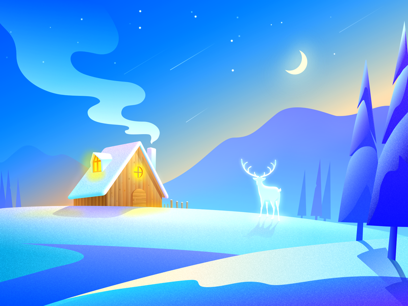 Merry Christmas blessing night christmas eve snow winter merry christmas color illustration