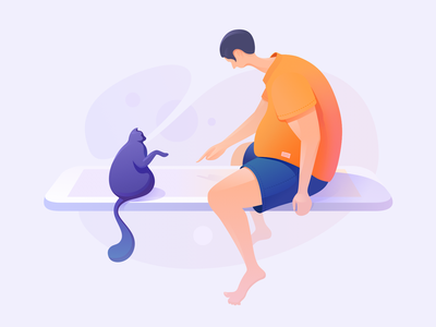 Flying Time mobile man cat fly ui ux color illustration