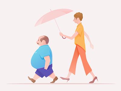 Incongruous irony comic original umbrella walk old sketchbook incongruous sketch a couple design color illustration