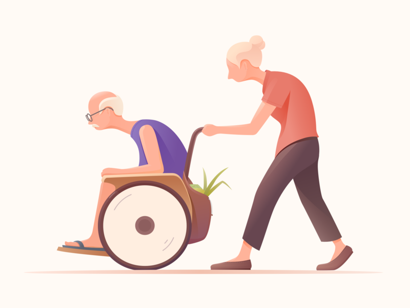 Accompany love together color old man accompany sketch design ui ux illustration
