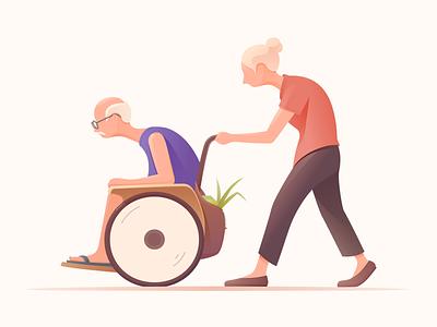 Accompany love together color old man accompany sketch design ui ux illustration